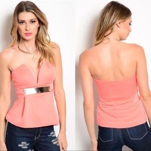 Coral plunge neck top